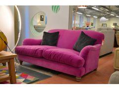 Ruffle Two Seater Sofa in Magenta Hot Pink Velvet Slight Second