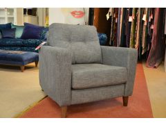 Vintage 54 Armchair in Pale Grey Fabric