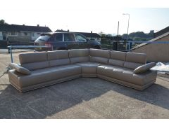 Large Quilted Leather Corner Sofa with Adjustable Headrests in Italian Leather