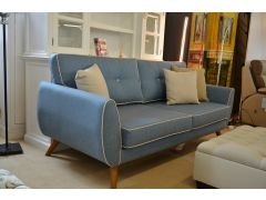 Retro Style Two Piece Suite 3 & 2 Seater Sofas Blue Fabric