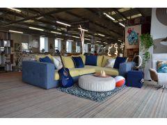 Summer Fun Corner Sofa Prototype Blue Fabric and Yellow Velveet Corner Suite