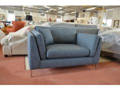 Prototype Snuggler Chair Blue Fabric Modern Style Loveseat Sofa