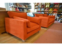 Orange Velvet 4 Seater Sofa and Snuggler Chair with Luxury Foam and Feather Filling
