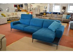 ICARO Blue Fabric Chaise Sofa from Italy with Slide Out Seats and Adjustable Headrests