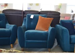 Edward Recliner Armchair in Teal Blue Velvet