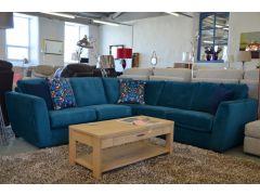 Retro Corner Sofa Suite in Green Velvet Made in Britain