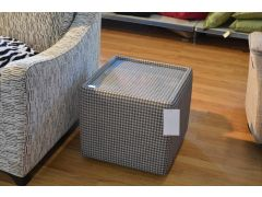 Side Table Cube with Glass Top in Houndstooth Fabric