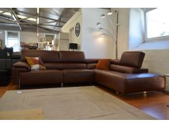 ENRICO Leather Corner Sofa in Rich Brown Durable Italian Leather