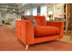 Orange Velvet Snuggler Chair and Footstool Set