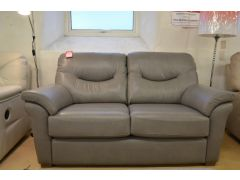Washington Leather Sofas Pair of Matching 2 Seater Sofas in Grey Leather