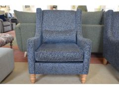 Henri Accent Armchair in Blue Silver Fabric