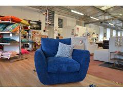 Eco Swivel Armchair Blue Chenille Chair Made from Recycled Yarn