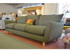 Grand 4 Seater Sofa Green Fabric Retro Style Extra Large Settee