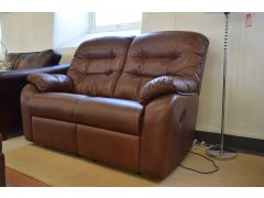 Wexcombe Pair of Two Seater Sofas in Brown Leather with Recliners