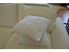 Pair of White Argyll Large Scatter Cushions in Hand Knitted Cotton