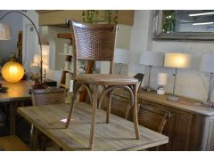 Set of 4 Wicker Dining Chairs Willow & Wood