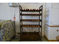 Industrial Wine Rack with Storage in Solid Wood and Metal
