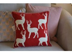 Scandi Reindeer Cushions Set of 2 Red & White Christmas Cushions