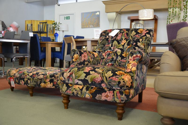 floral fabric armchair ex display sale at WB furniture in Clitheroe