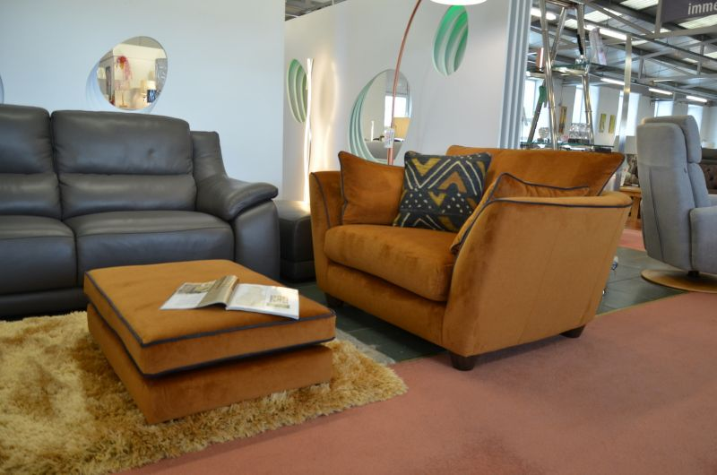 Aztec snuggler chair and footstool ex display sofas clearance outlet Lancashire