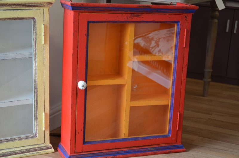Red Wall Hanging Bathroom Cabinet