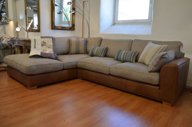 Beach House leather and fabric corner sofa in Clitheroe, Lancashire