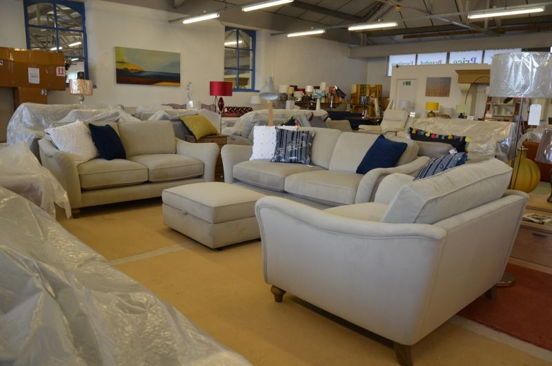 designer fabric sofas velvet large suite Lancashire ex display sofa with fast delivery even during lockdown
