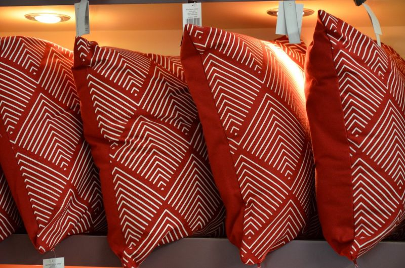 Set of Four Scatter Cushions White on Red Pattern