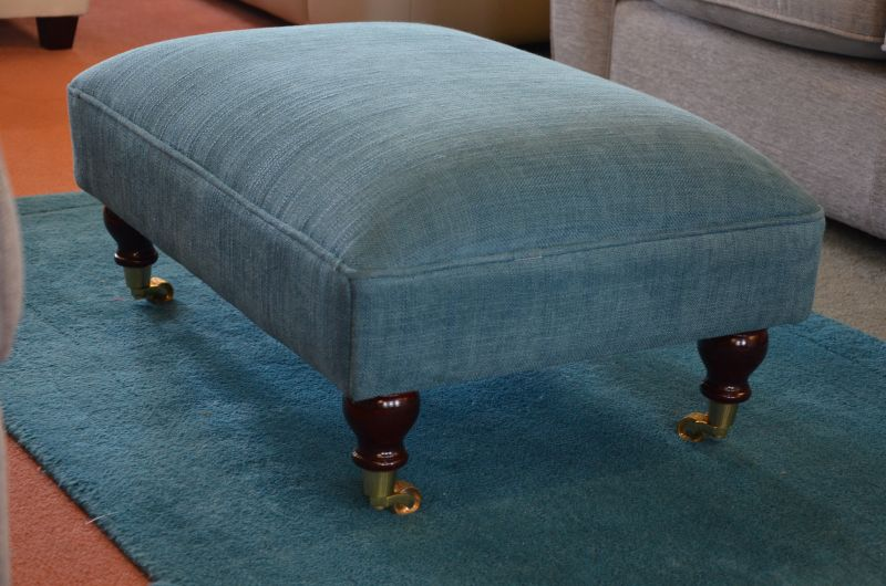 Chelworth Footsool in Teal Blue Fabric with Castors