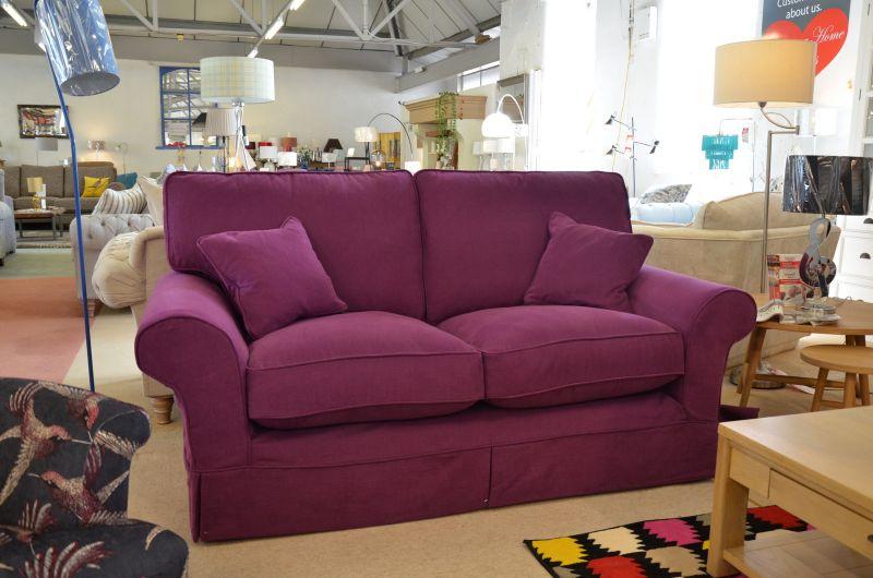 Designer 2 Seater Sofa in Fabulous Purple with Arm Caps
