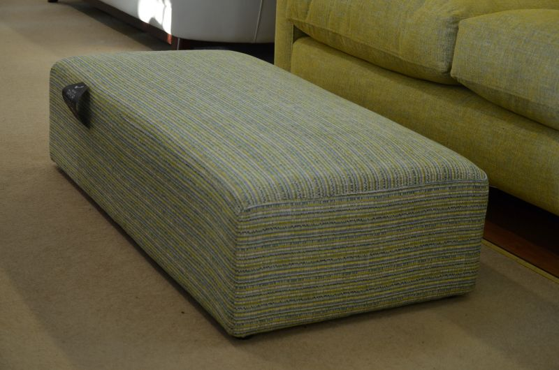 Taylor Long Footstool in Green Multi Fabric