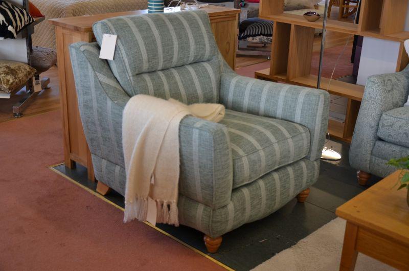 Fairfield Armchair in Duck Egg Green Stripe Fabric