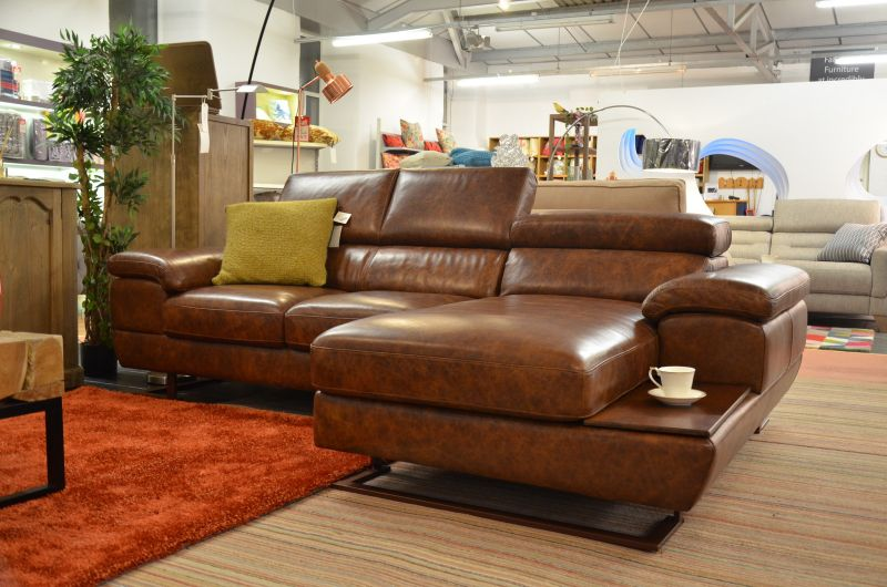 half price Italian leather chaise sofa genuinely made in Italy from Worthington Brougham Furniture designer sofa outlet in Lancashire