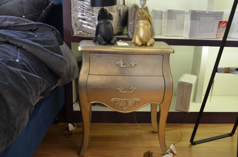 Silver Painted Side Table French Style Small Bedroom Drawers