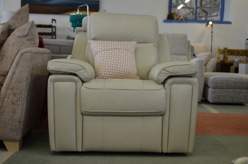 Hannington cream leather armchair sofa discount store Lancashire ex display sofas outlet Clitheroe