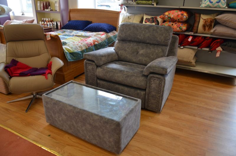 Burford snuggler chair and table set ex display sofas Lancashire ready for fast delivery or collection even during lockdown