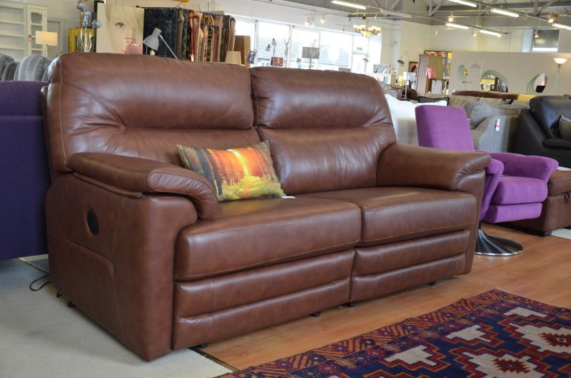 Shalbourne All Electric Reclining Three Piece Suite in Brown Leather