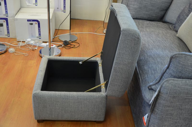 Grey Fabric Storage Footstool