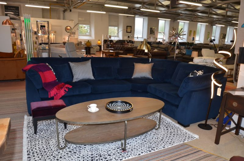 ex display sofas blue velvet corner suite fast sofa delivery delivered before Christmas