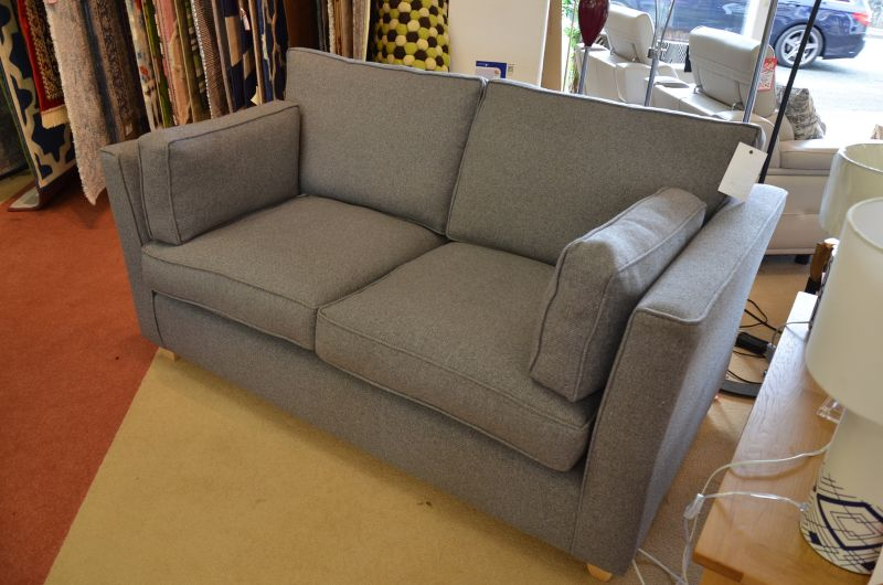 Designer 2 Seater Sofa in Grey Fabric with Side Cushions