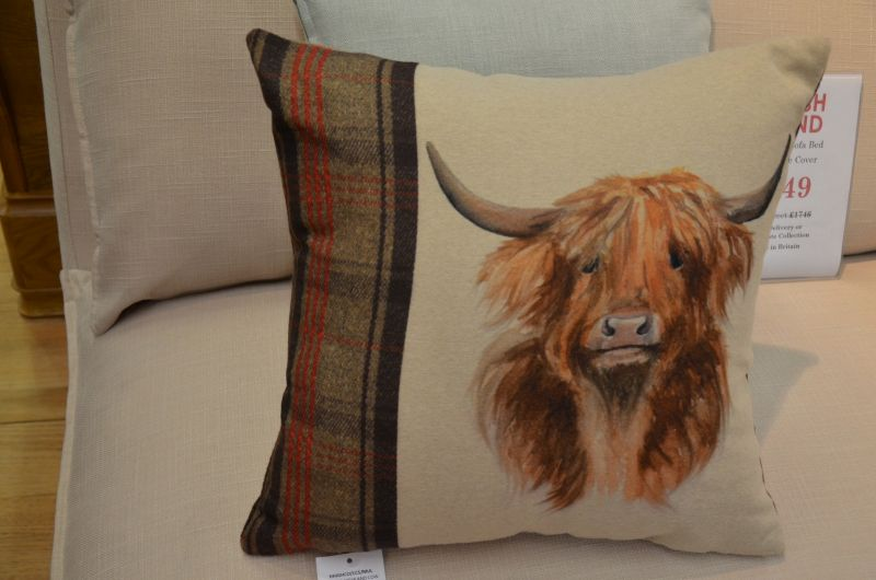 cushions Ribble Valley Highland Cattle country tartan cushion