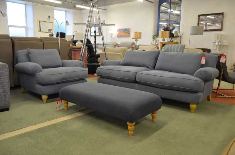 Findon Ex Display 3 Seater Sofa and armchair in Beaulieu Lake Blue fabric discount sale in lancashire