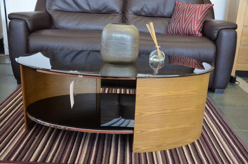 Modern oval glass top coffee table