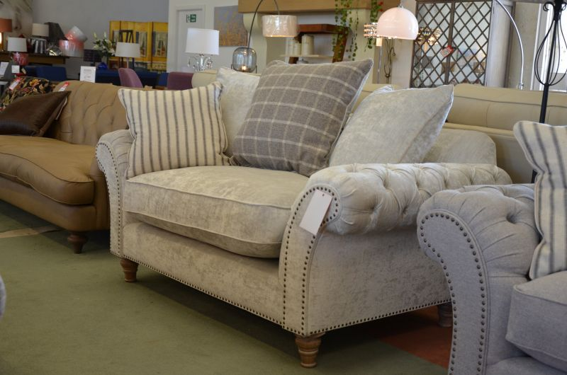 Keaton Loveseat in Modena Velvet Fabric Chesterfield Snuggler Chair in Clitheroe Lancashire