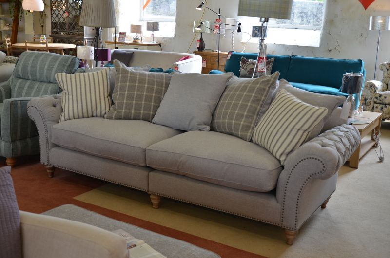Keaton grand split sofa grey fabric scatter back ex display clearance sale cheapest in lancashire