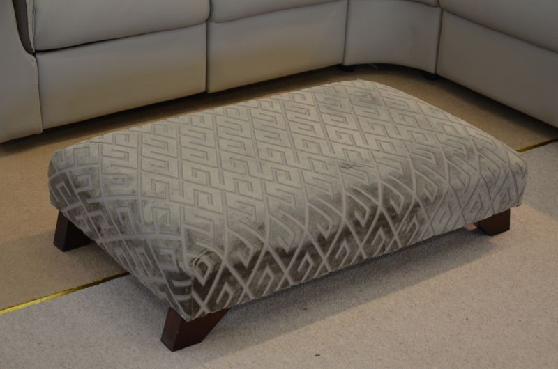 Beige Fabric Low Footstool Bench Style