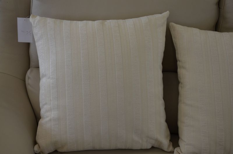 Pair of Cream Striped Cushions with Fillers