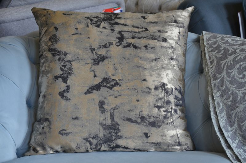 Pair of Large Metallic Marble Cushions with Fillers