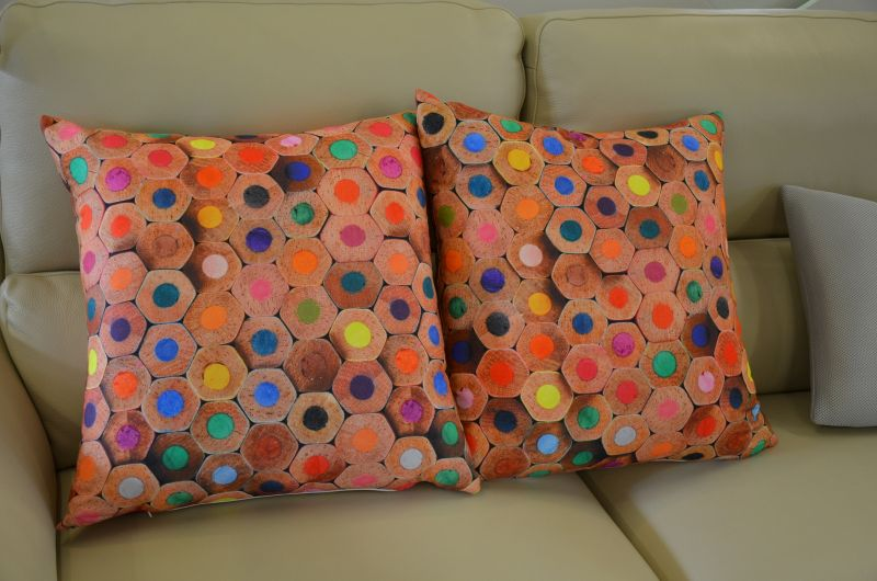 Pair of Large Pencil Print Cushions with Fillers