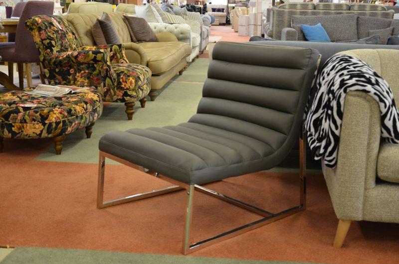 Cian Lounge Chair Grey PVC Modern Armless Accent Chair